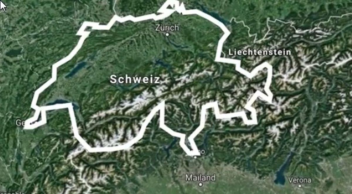 """Die Schweiz im Kartenumriss und nicht Luxemburg - die ganz besondere Pointe und inzwischen ein """"running gag""""."""