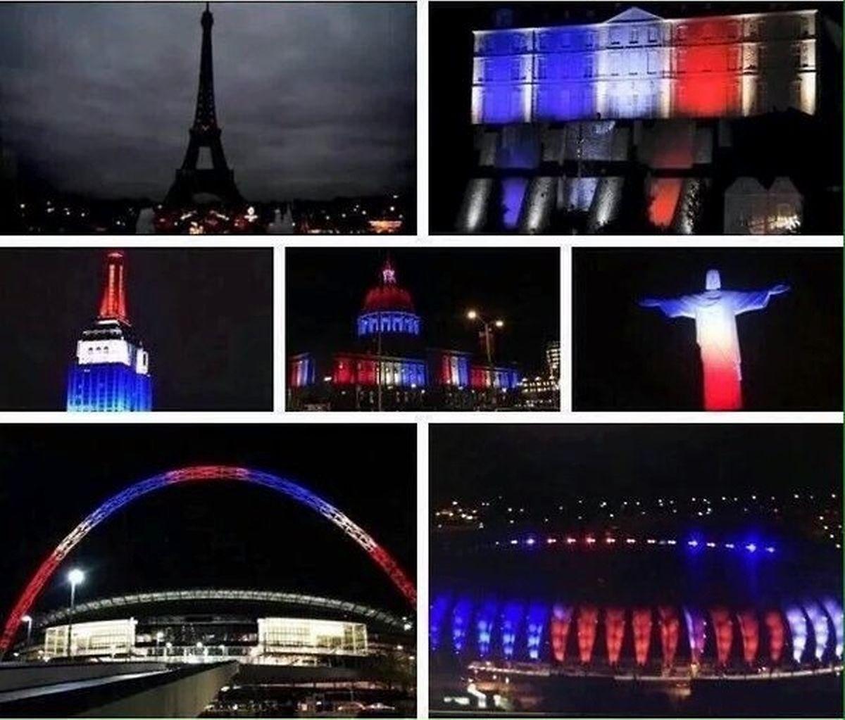 Les monuments illuminés en bleu blanc rouge par solidarité avec les victimes des attentats de Paris, dans la nuit de vendredi à samedi.