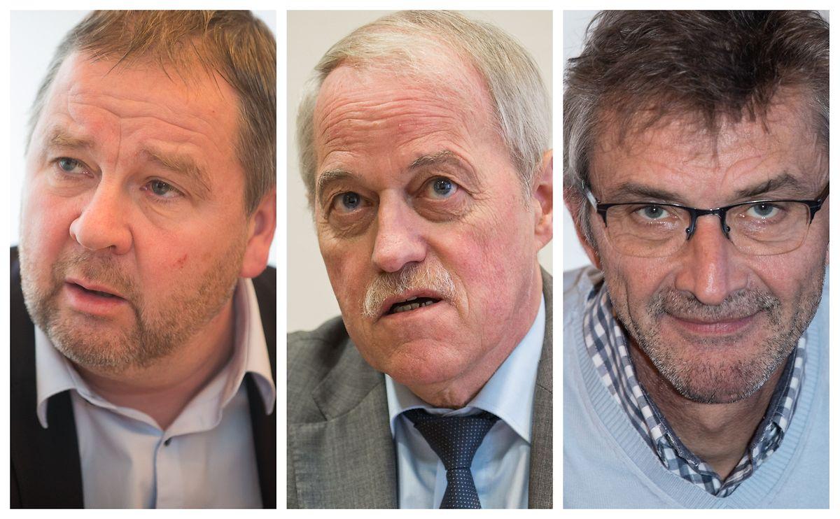 Die Bürgermeister von Käerjeng und Petingen Michel Wolter und Pierre Mellina, sowie der Käerjenger Schöffe Frank Pirrotte.
