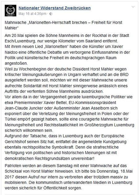Der Aufruf zur Mahnwache wurde offenbar bereits am Dienstag auf Facebook veröffentlicht.