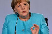 03.06.2020, Berlin: Bundeskanzlerin Angela Merkel (CDU) spricht bei einer Pressekonferenz im Bundeskanzleramt. Bund und L�nder legen im Kampf gegen die Folgen der Corona-Pandemie in den Jahren 2020 und 2021 ein Konjunkturpaket im Umfang von 130 Milliarden Euro auf. Foto: John Macdougall/AFP/POOL/dpa +++ dpa-Bildfunk +++