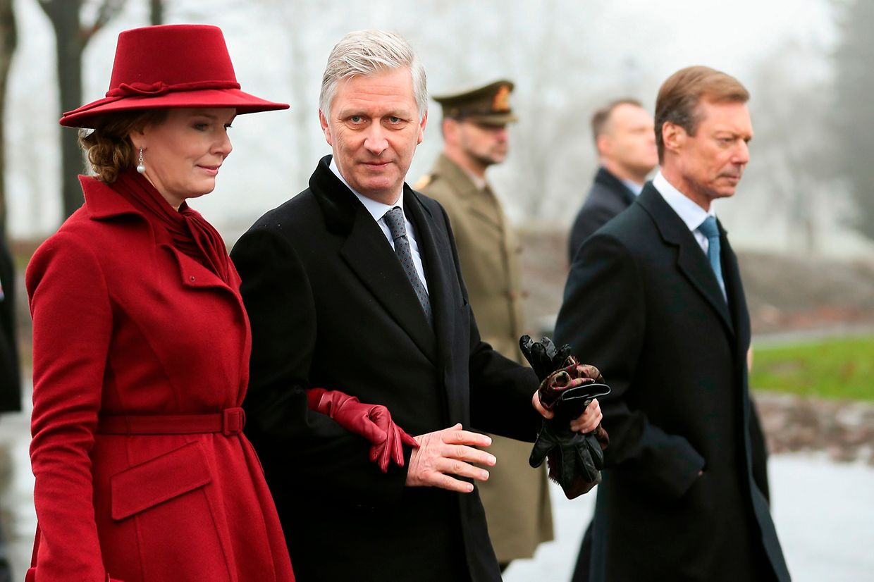 Queen Mathilde of Belgium (L), King Philippe - Filip of Belgium (C) and Grand Duke Henri of Luxembourg leave the Mardasson Memorial after the commemoration of the 75th anniversary of the Battle of the Bulge, in Bastogne on December 16, 2019. - The Battle took place during the second World War from December 16, 1944 until January 25, 1945. (Photo by Francisco SECO / various sources / AFP) / Belgium OUT