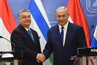 Ungarns Ministerpräsident Viktor Orban (l.) mit seinem israelischen Kollegen Benjamin Netanjahu.