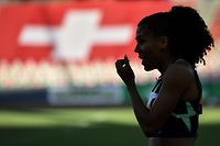 Switzerland's sprinter Mujinga Kambundji reacts after competing in the women's 150m event, during the Inspiration Games exhibition event, being held remotely across different countries, at the Letzigrund Stadion in Zurich on July 9, 2020. - Switzerland hosts the event but athletes compete across the globe in a live streaming, due to the coronavirus pandemic (COVID-19). (Photo by Fabrice COFFRINI / AFP)