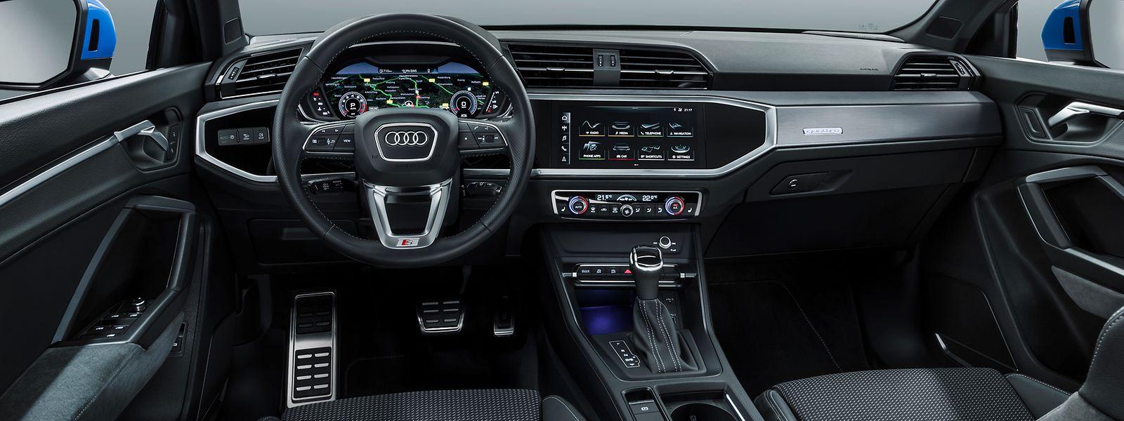 Im Cockpit des neuen Q3 spiegelt sich die Straffheit der Karosserielinie wider.