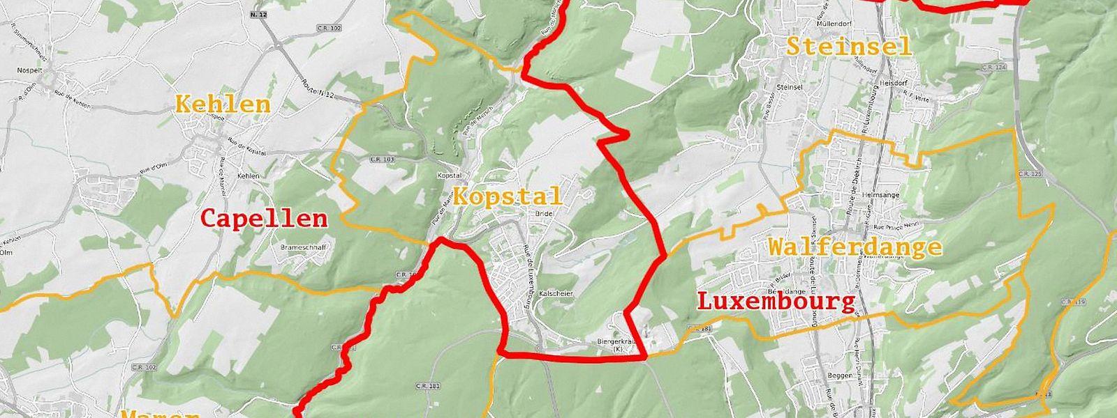 Die Kantonsgrenze (rot) zwischen Capellen und Luxemburg verläuft so, dass die nördlich der Hauptstadt gelegene Gemeinde Kopstal zum Wahlbezirk Süden gehört, Luxemburg aber zum Zentrum.