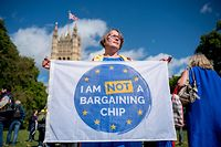 "(FILES) In this file photo taken on September 13, 2017 Demonstrators hold banners during a protest to Lobby MPs to guarantee the rights of EU citizens living in the UK, after Brexit, outside the Houses of Parliament in central London on September 13, 2017. - British Prime Minister Boris Johnson has spent his first weeks in office ramping up preparations for a no-deal Brexit on October 31, but faces assessments it could be economically calamatous for the country. Johnson ordered government departments to ""turbo-charge"" contingency planning after taking power on July 24, 2019 promising ""all necessary funding"" beyond the �4.2 billion (4.6 billion euros, $5.1 billion) already allocated. But an analysis of the potential impact of a no-deal depature carried out by the government, and leaked August 18, 2019 to a newspaper, makes for grim reading. It predicts Britain will face shortages of fuel, food and medicine, a three-month meltdown at its ports, a hard border with Ireland and rising costs in social care. (Photo by Tolga AKMEN / AFP)"