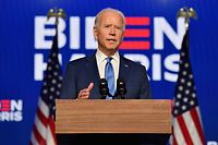 TOPSHOT - Democratic presidential nominee Joe Biden delivers remarks at the Chase Center in Wilmington, Delaware, on November 6, 2020. - Three days after the US election in which there was a record turnout of 160 million voters, a winner had yet to be declared. (Photo by Angela Weiss / AFP)