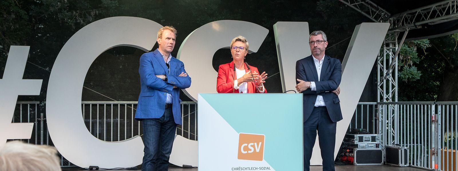 Die aktuelle Führungsriege der CSV  - Generalsekretär Félix Eischen (l.), Fraktionschefin Martine Hansen und Parteipräsident Frank Engel (r.)  - vermag die Partei nicht aus der Talsohle zu führen.