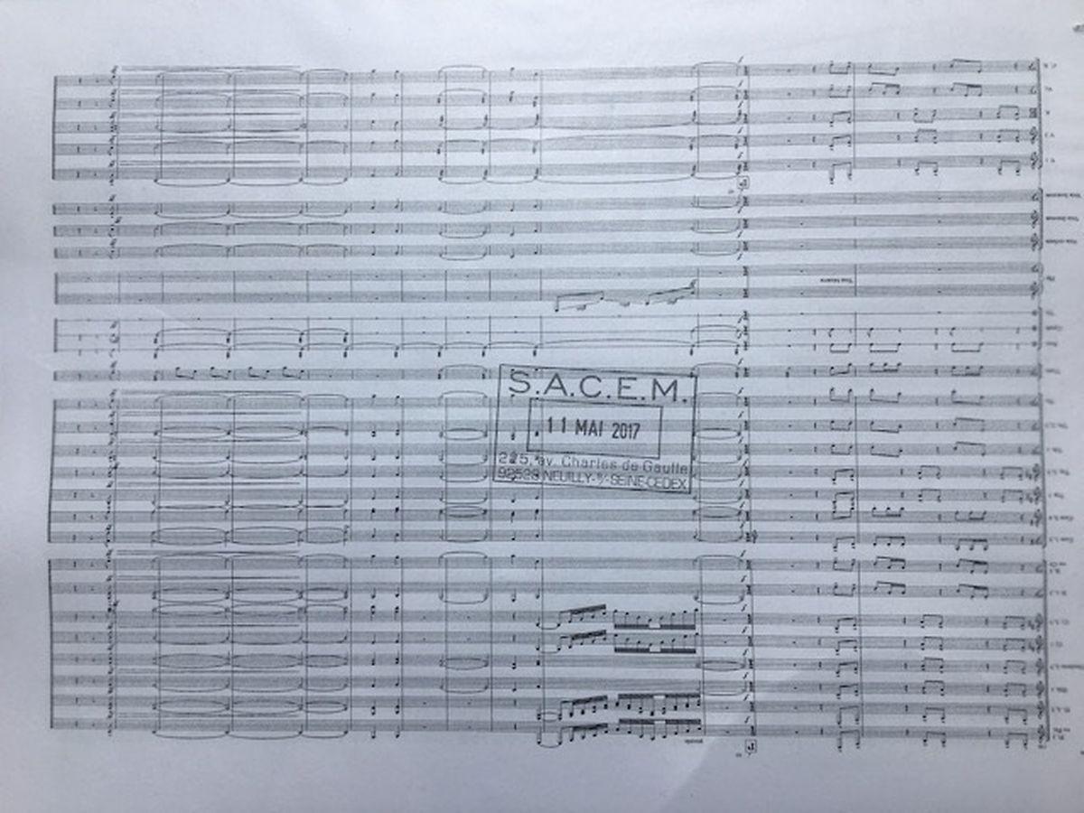 """Extrato da partitura """"Aiva Ouverture"""", encomendada para a cerimónia da Festa Nacional, em 2017, na Philharmonie."""
