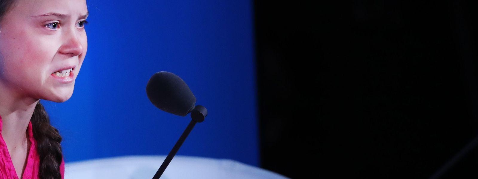 Thunberg wirkte bei ihrer Rede nicht wirklich glücklich.