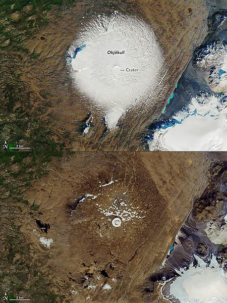 Cette combination de deux photos de la NASA montre le glacier tel qu'il exitait encore le 7 september 1986 showing  et tel qu'il a été photopgraphié le 1er août 2019.