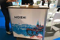 """Ein """"Moien¨"""" begrüßt Besucher am Luxemburger Stand bei der Frankfurter Buchmesse"""