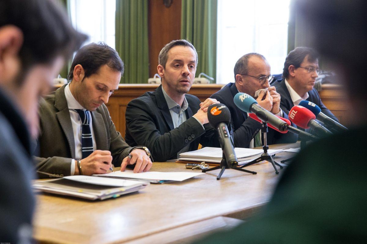 Die Bürgermeister Dan Biancalana, Georges Mischo und Roberto Traversini mit dem Schöffen Pim Knaff (v.l.n.r.).