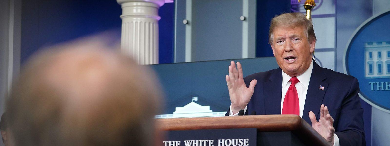 US-Präsident Donald Trump während des Pressebriefings am Sonntag.
