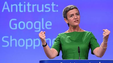 European Commissioner for Competition Margrethe Vestager gestures during a press conference on an antitrust case against US search engine Google at the European Commission in Brussels, on June 27, 2017.  The EU hit Google with a record 2.4-billion-euro anti-trust fine today for favouring its own shopping service, in a fresh assault on a US tech giant that risks the wrath of President Donald Trump. / AFP PHOTO / EMMANUEL DUNAND