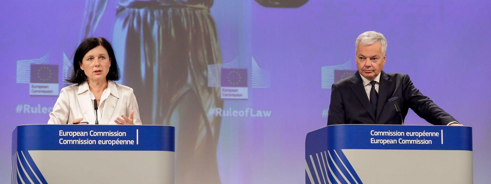 Die EU-Kommissare Vera Jourova und Didier Reynders sehen bei mehreren Mitgliedsstaaten Probleme mit der Rechtsstaatlichkeit.