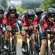 BMC team leader Tejay Van Garderen of the US (R) rides with his teammates as they compete during team time-trial third stage of the 67th edition of the Criterium du Dauphine cycling race on June 9, 2015, between Roanne and Montagny. AFP PHOTO / ERIC FEFERBERG