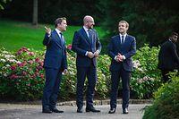 Visite au Luxembourg du président de la République française, Emmanuel Macron - DÉCLARATIONS À LA PRESSE - Xavier Bettel; Emmanuel Macron; Charles Michel - Photo : Pierre Matgé