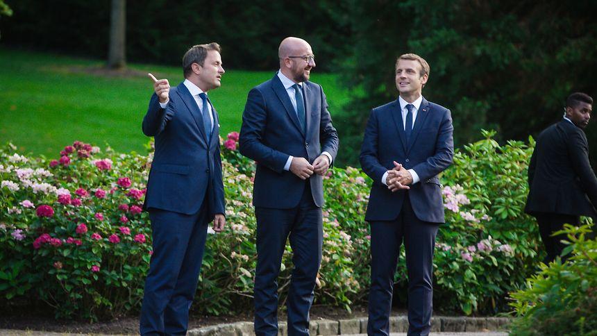 Drei, die sich gut verstehen: Xavier Bettel, Charles Michel und Emmanuel Macron.