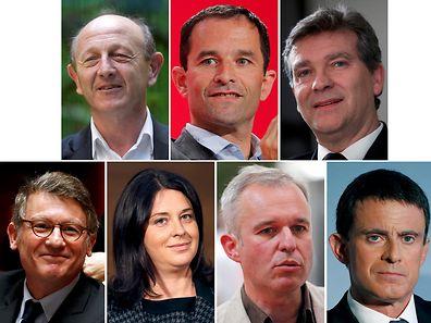 """Die Bewerber der linken """"Primaires"""". Oben: Jean-Luc Bennahmias, Benoît Hamon, Arnaud Montebourg (von links). Unten: Vincent Peillon, Sylvia Pinel, Francois De Rugy, und Manuel Valls (von links)."""