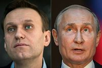 "(COMBO) This combination of pictures created on October 1, 2020 shows Russian opposition leader Alexei Navalny (L, on January 16, 2018 in Moscow) and Russian President Vladimir Putin (on July 4, 2019 in Rome). - Russian opposition leader Alexei Navalny has accused President Vladimir Putin of being behind his poisoning, in his first interview published since he left the German hospital where he was treated. ""I assert that Putin is behind this act, I don't see any other explanation,"" he told the German weekly Der Spiegel, which published extracts from the interview on its website Thursday, October 1, 2020. (Photos by Mladen ANTONOV and Tiziana FABI / AFP)"