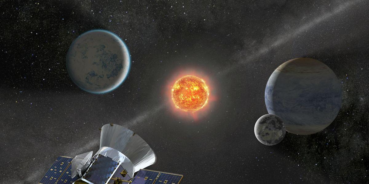 Eine grafische Darstellung der NASA zeigt Tess im Weltraum.