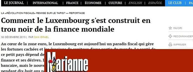 """Den """"Verbrecher Luxemburg"""" ausschließen: Schlagzeilen aus der französischen Presse Ende Dezember 2013."""