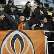 Ruslan (C), Shakhtar's supporter from Donetsk, and his sons, attend a football match against FC Mariupol in Azov Sea port of Mariupol, southeastern Ukraine, on December 7, 2018. - Struggling for support, Shakhtar face Lyon in switched clash on December 12, 2018. Shakhtar has been playing home matches for the last two years in Kharkiv, close to their fiefdom Donetsk, which they abandoned in 2014 when the region fell under control of Russia-backed separatists. (Photo by Evgeniya MAKSYMOVA / AFP)
