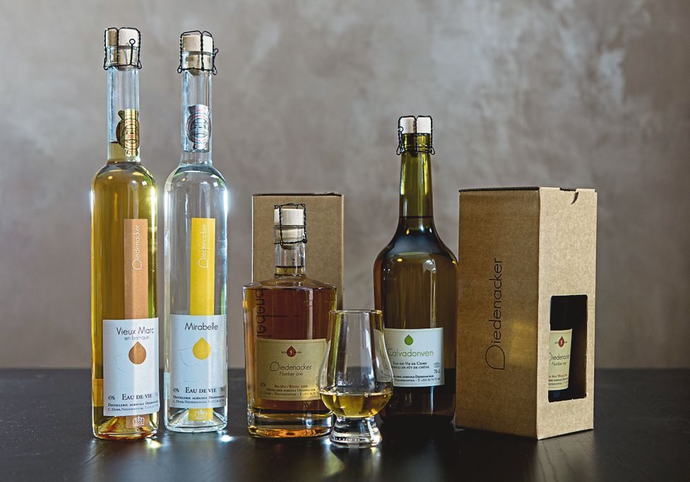 In July, a new tasting room will open in a converted barn. A sample of the distillery's products are shown here.