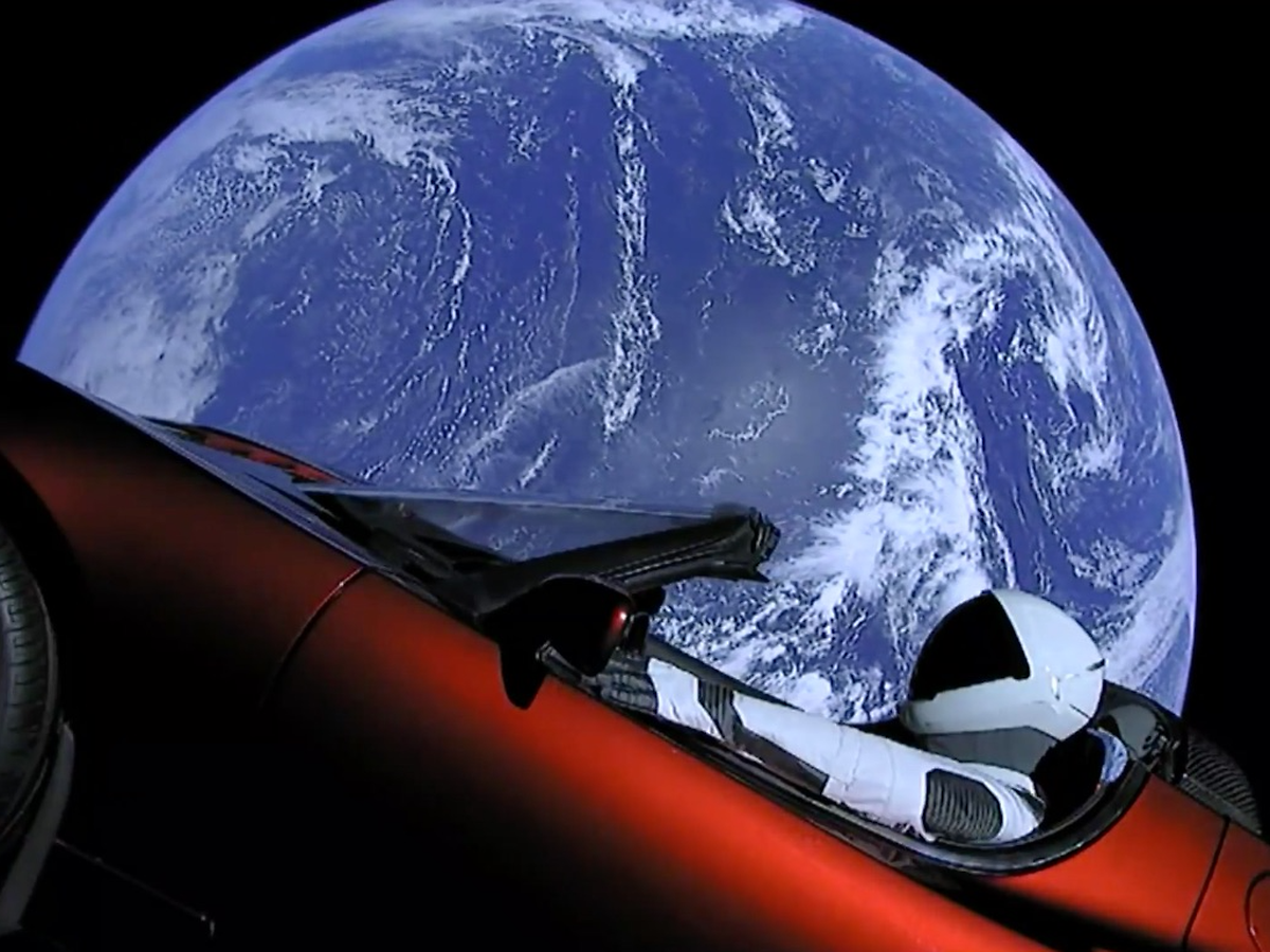 The Tesla fired into space on its way to Mars (AFP)