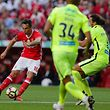 Benfica's player Jonas (L) scores the second goal against Maritimo during their Portuguese First League soccer match held at Luz stadium in Lisbon, Portugal, 14 April 2017. TIAGO PETINGA/LUSA