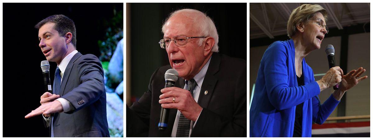 Aktuell liegt Pete Buttigieg (links) mit 26,2 Prozent leicht vor Bernie Sanders (26,1 Prozent, mitte). Elizabeth Warren (rechts) folgt abgeschlagen auf dem dritten Platz (18,2 Prozent). 97 Prozent der Stimmen in Iowa sind ausgezählt.