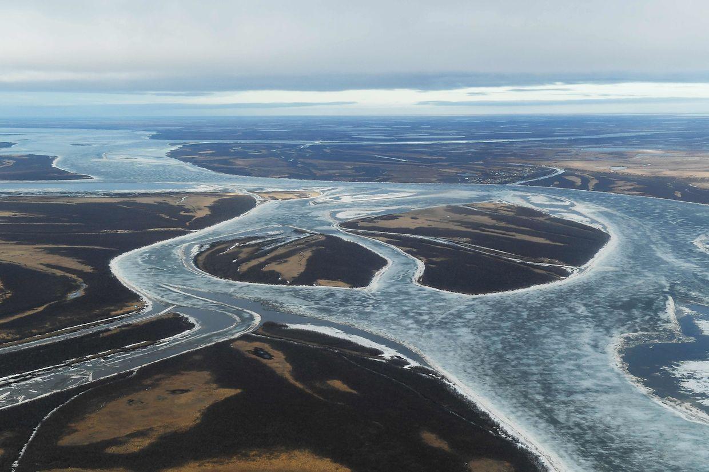 Schmelzendes Eis auf dem Fluss Kuskokwim in in der Nähe des Dorfes Bethel. (12. April 2019)