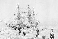 Festgefahren im ewigen Eis: Die HMS Terror auf einer Zeichnung von George Back.