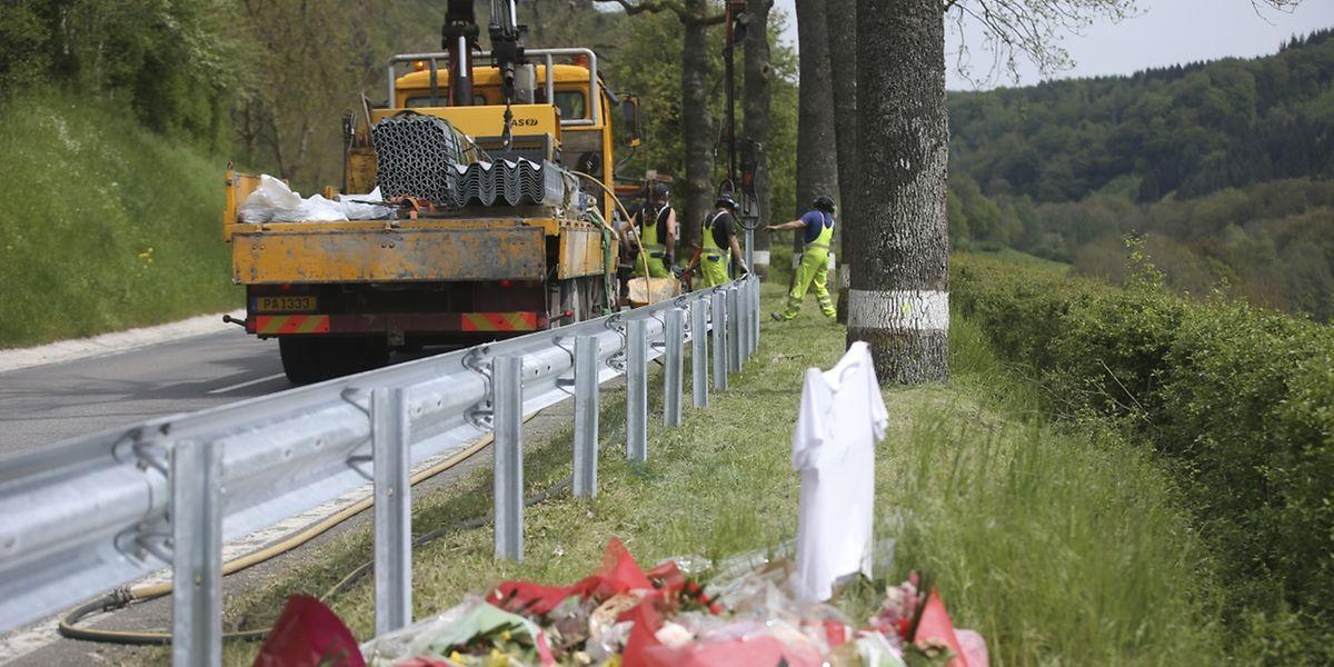 Ein Teil der Leitplanken zwischen Mersch und Angelsberg wurde bereits am Montag errichtet.