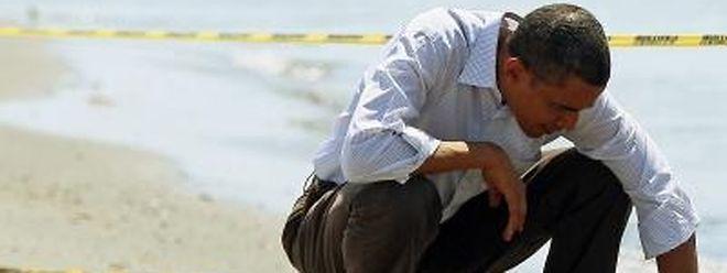 Suche nach Öl: Barack Obama an einem verseuchten Strand in Louisiana.