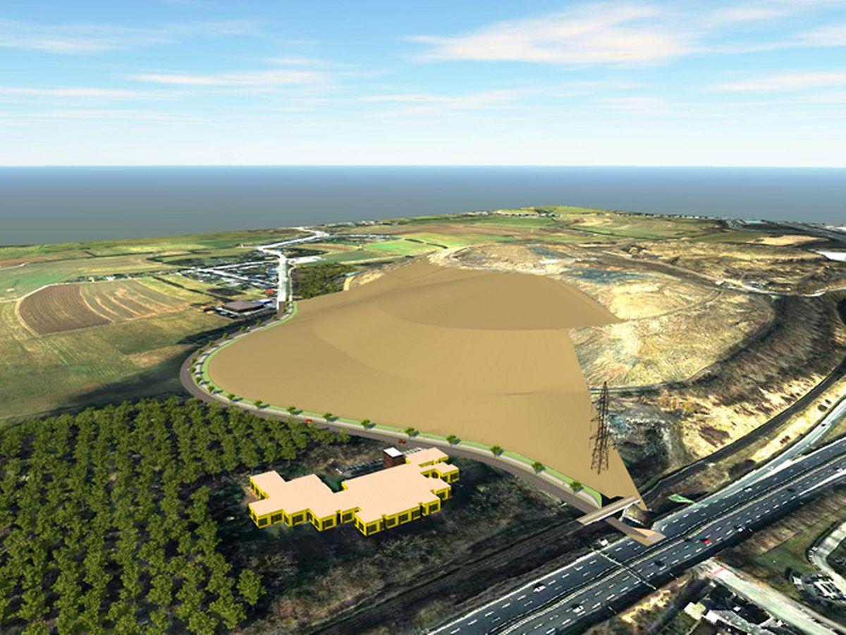 Les panneaux solaires devraient être implantés sur la surface marron, site de l'ancien crassier.