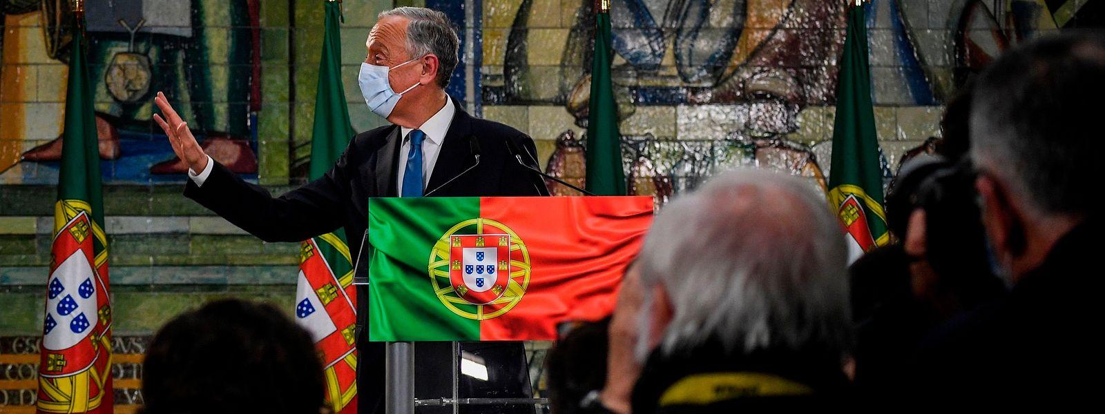 Marcelo Rebelo de Sousa no discurso da vitória nas presidenciais de janeiro de 2021, onde assegurou o segundo mandato à Presidência da República.