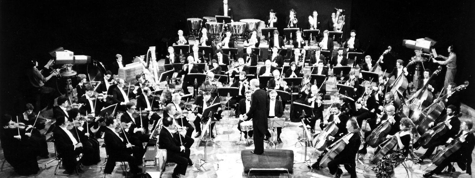 Das RTL-Radio-Orchester in den Achtzigerjahren im Auditorium der Villa Louvigny.