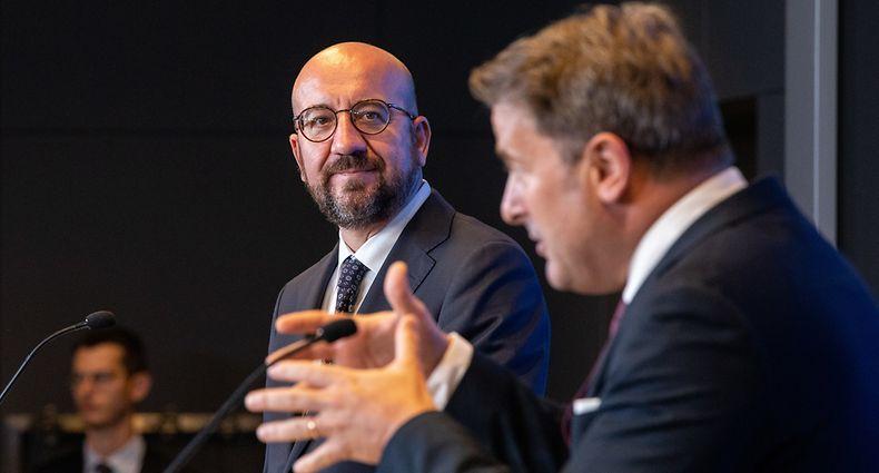 IPO , Luxtimes , Visite de Travail Charles Michel , President Conseil Europeen ,PK mit Xavier Bettel , Foto:Guy Jallay/Luxemburger Wort