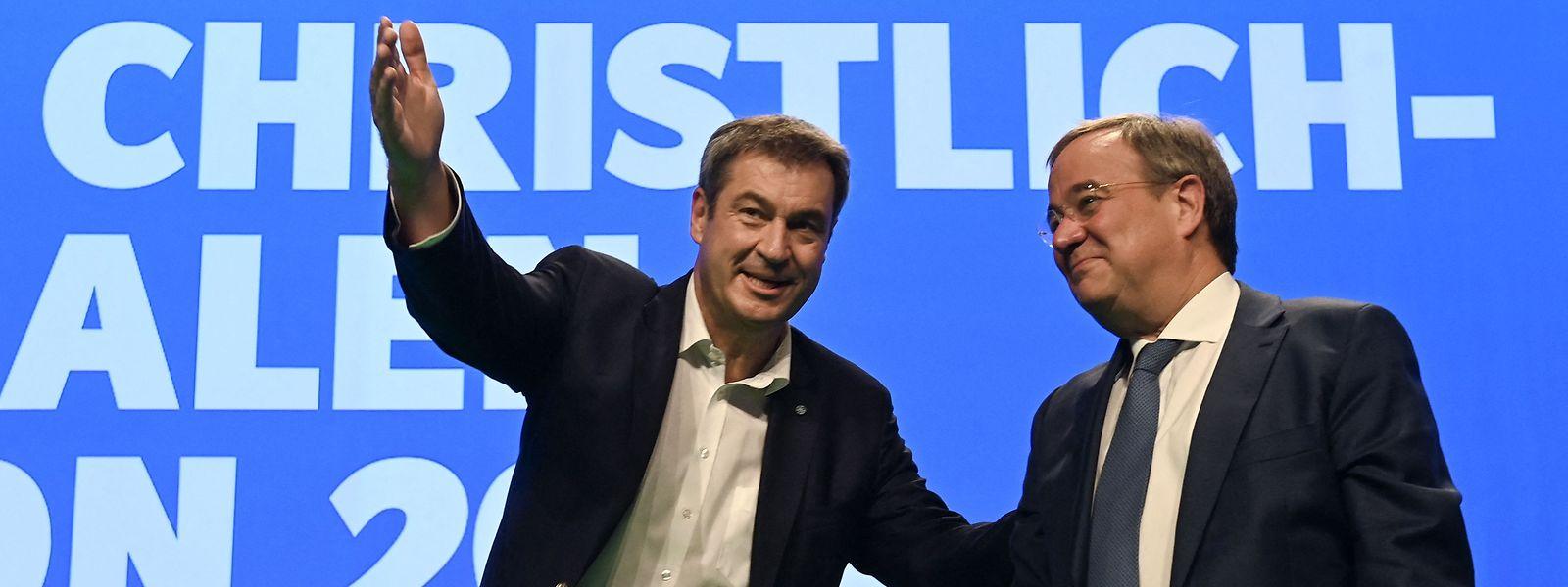 Vor Wochen Gegner um den Posten des Spitzenkandidaten der Union, jetzt notwendigerweise Verbündete: Markus Söder (links) und Armin Laschet.