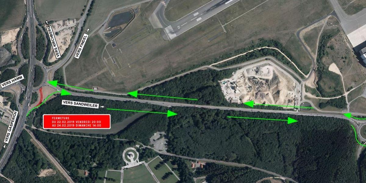 Von Freitagabend 20 Uhr bis Sonntag 14 Uhr wird die Ausfahrt N7 von der Autobahn A1 in Richtung Kreisverkehr Irrgarten teilweise gesperrt sein.
