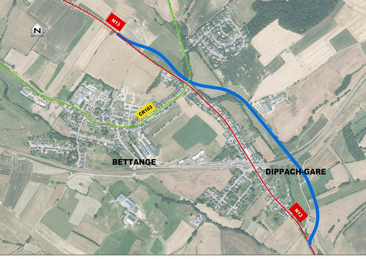 Die Umgehungsstraße Dippach-Gare soll eine Länge von 2,5 Kilometer haben.