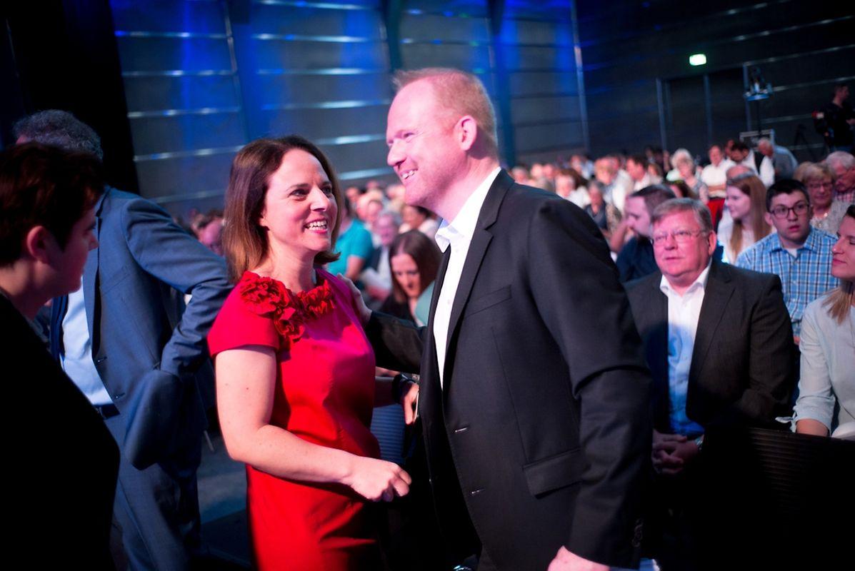 Parteipräsidentin Corinne Cahen und der frisch gewählte DP-Generalsekretär Claude Lamberty.