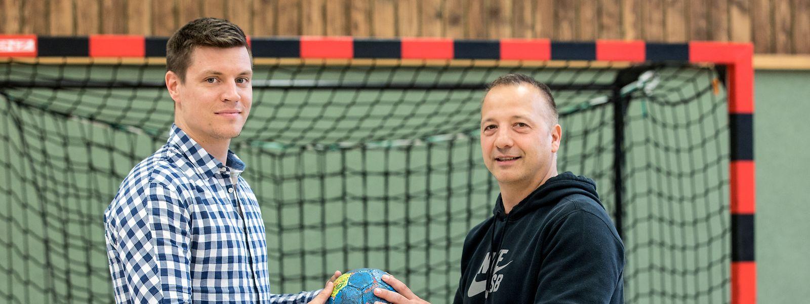 Christian Bock (l.) und Marc Fancelli sind prägende Figuren der Escher Handballgeschichte.