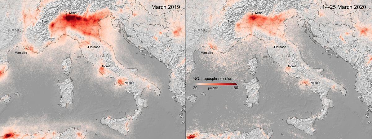Italien vor dem Lockdown (links) und aktuell (rechts).