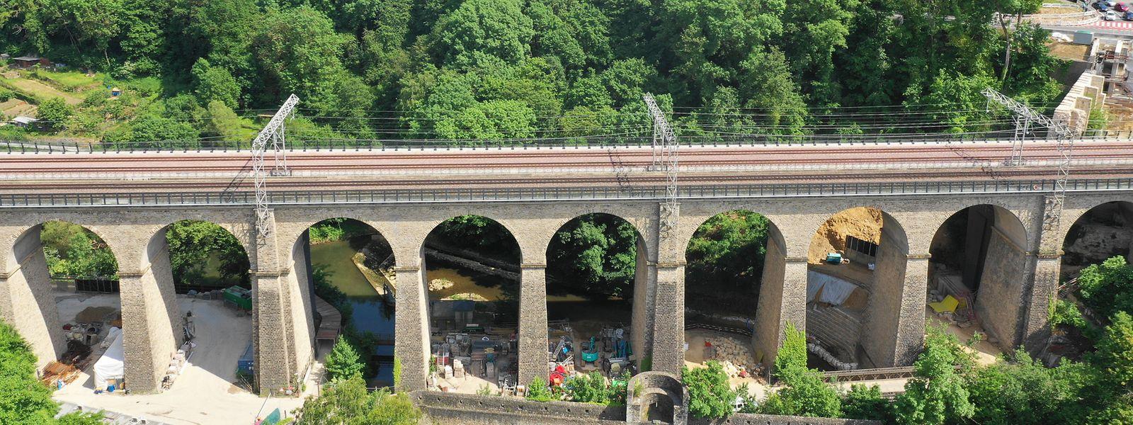 Insgesamt zehn Jahre dauerte der komplizierte Ausbau des Viadukts Pulvermühle an.
