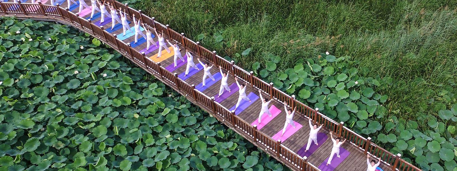 Farbenfroh: Yoga-Anhänger trainieren in einem Park in China.