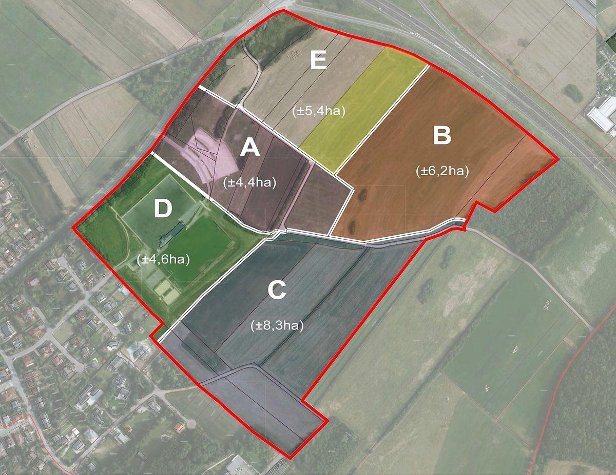 Le vélodrome et le complexe sportif verront le jour dans la parcelle brune B de 6,2 hectares. Le campus scolaire sera implanté sur la parcelle grise C et le stade John Grün est reconnaissable sur la parcelle verte D.